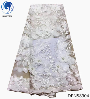 BEAUTIFICAL White african lace fabrics Fashion 3d appliques design tulle lace fabric with beads embroidered net lace DPN589