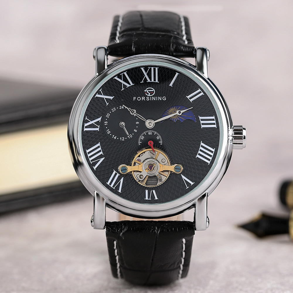 FORSINING Fashion Automatic Self-Wind Men Wristwatch Black White Unique Design Dial Genuine Leather Band Business Casual Watches forsining luxury mmechanical men wristwatch genuine leathe band unique design dial cost effective male casual fashion watch