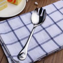 1pc Stainless Steel Western Silver Spork Salad Spoon Round Salad Fork Fruit Forks Flatware Cutlery Kitchen Dinnerware #45