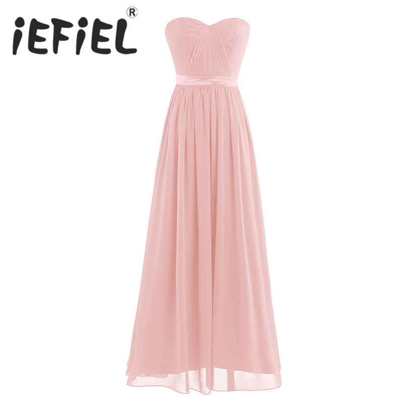 iEFiEL Elegant Summer Women Prom Party Maxi Dresses Women Adults Chiffon Pleated High-waisted Bridesmaid Tulle Long Formal Dress