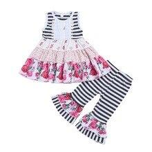 Для малышей из 2 предметов Одежда для маленьких девочек комплект Мягкая футболка одежда, топ+штаны Костюмы комплект