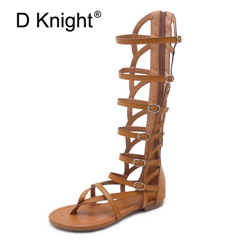 Ladies Casual Knee High Gladiator Sandals Sexy Back Zipper High Top Flip Flops For Women Vintage Cut-ous Ankle Strap Rome Sandal rome top 10
