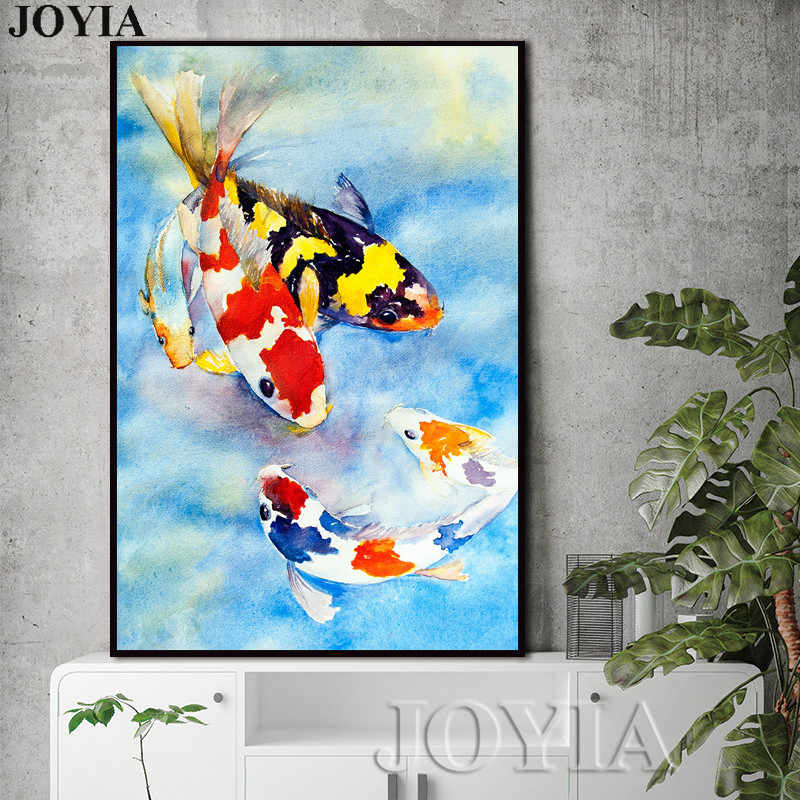 Colorful Carps Fishes Painting Koi Fish Wall Art Freehand Blue Picture Home Living Room Decor Canvas Prints Big Size No Frame