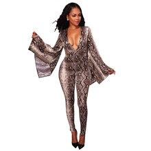 2018 Snake Print Jumpsuit Sexy V Neck Flare sleeve Bodycon Sexy Snake Skin Club Party Wear Women Bodysuit