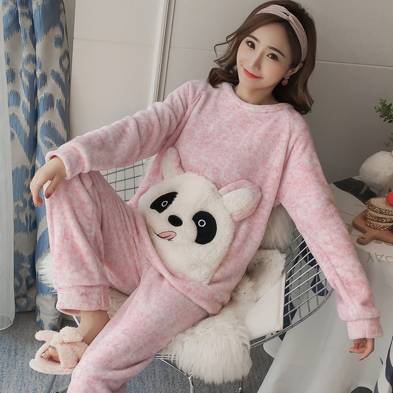 Winter Women Pajamas Set Warm Coral Fleece Sleepwear Suit Cute Pink Cartoon Pullover Tops + Pants Night Home Wear Pijama Mujer