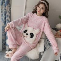 Winter Women Pajamas Set Warm Coral Fleece Sleepwear Suit Cute Pink Cartoon Pullover Tops + Pants Night Home Wear Pijama Mujer