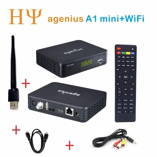 Original agenius A1 mini Satellite Receiver Full 1080P +1PC USB WiFi DVB-S2 HD Support Ccam Newcamd Biss key set top box