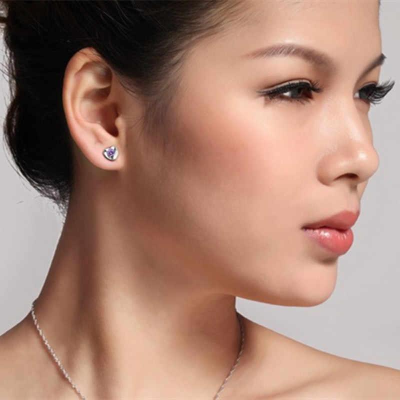 2018 boucle d'oreille Oorbellen offre Brincos Brinco 1 paire femmes dame élégant 925 en cristal Sterling oreille boucles d'oreilles coeur cadeau nouveau E266