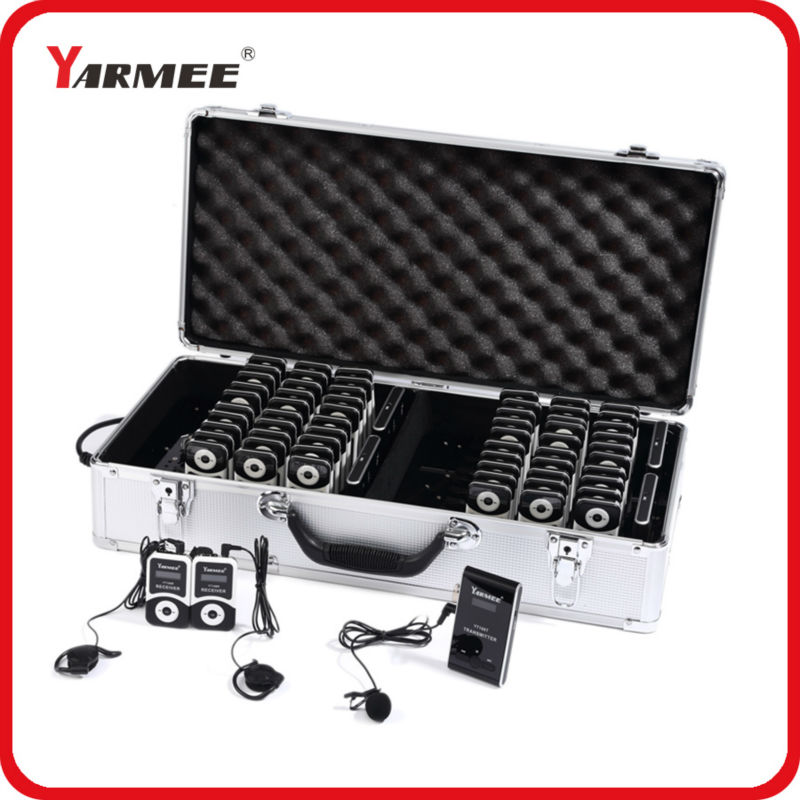 YARMEE Portable 2 Transmitter 60 Receiver Wireless Audio Tour Guide System Used For Tour Guiding Church Trade Fair Meeting dhl shipping atg100 portable mini meeting tourism teach microphone wireless tour guide system 1transmitter 15 receivers charger