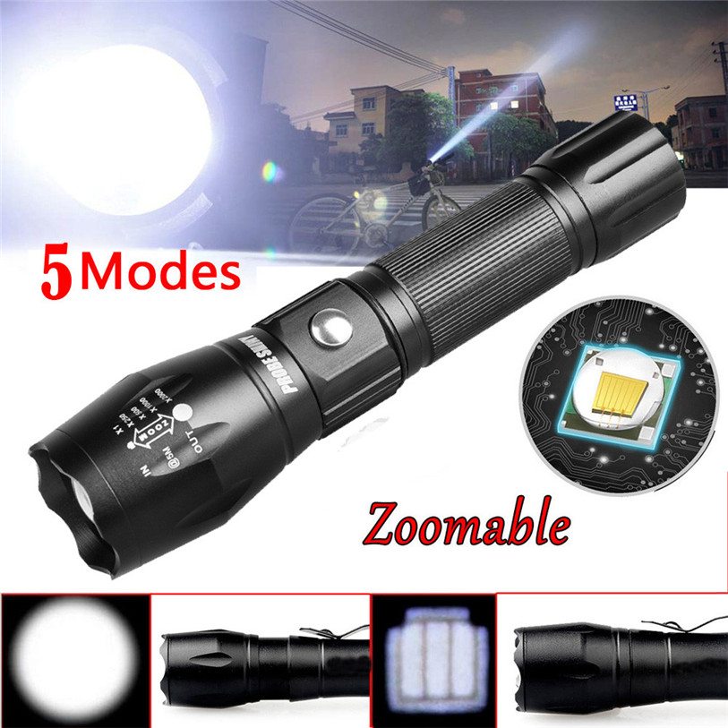 Tactical Police 5000LM Zoom XM-L T6 LED 5Modes Flashlight Aluminum Torch  Outdoor Sports Bicycle Bike Cycling Accessories Sep 19