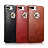 ICARER Business Style Vintage Leather Case For iPhone 7 8 Plus 5.5 Slim Luxury Accessories Oil Wax Cover Black Brown Red