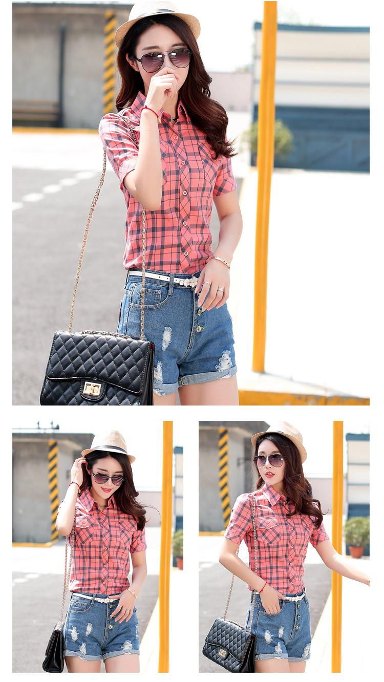 HTB1aIjVJFXXXXbhXFXXq6xXFXXXf - New 2017 Summer Style Plaid Print Short Sleeve Shirts Women