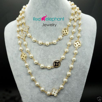 Women Gift Word Love Free Shipping Free Shopping 8MM White Akoya Shell Pearl Long Necklace With