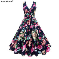 HimanJie Sexy Cross Lace Up Backless Flower Print Summer Dress Women Deep V Neck Sleeveless Long