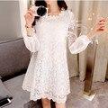 2016 de la moda de primavera temperamento manga suelta y larga sólido gancho de encaje de flores vestido de ropa de bebé para las mujeres embarazadas