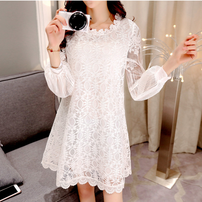 ФОТО 2016 spring fashion temperament loose and long sleeve solid hook flower lace dress baby clothing for pregnant women