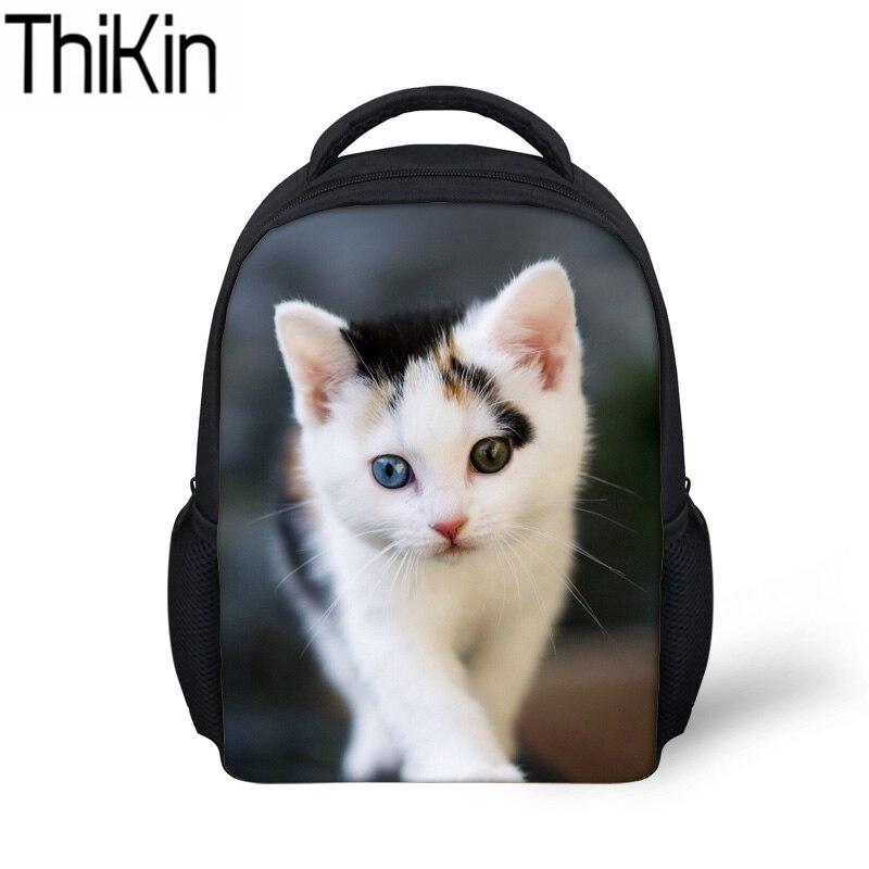 a8f360ba9666 THIKIN School Bags for Kids 3D Cat Printing Schoolbag Backpack Baby Mini  Kindergarten Bagpack Children Shoulder School Back Pack-in School Bags from  Luggage ...