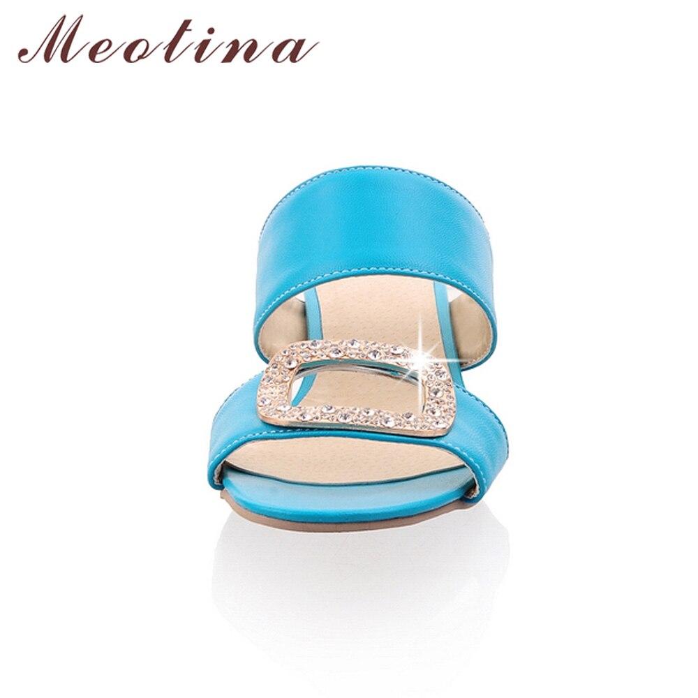 Meotina Shoes Women Summer Ladies Slippers Casual Low Heels Fashion Rhinestone Women Slides Orange Yellow Blue Big Size 9 10 43