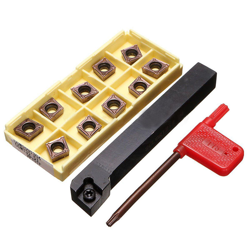 10pcs CCMT09T304 Inserts 1pc SCLCR1212H09 Boring Bar Tool Holder With Mayitr For Lathe Turning Tools