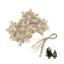 10PCS Wood Snowflakes Shaped Hanging Embellishments Ornaments Craft Star Heart Shape Slices Wood Xmas Decorations(China)