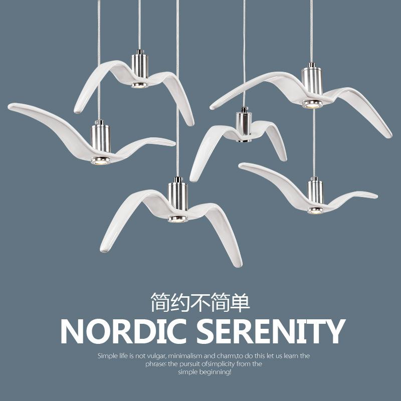 Nordic creative personality designer hotel club bar cafe restaurant bar clothing store seagull chandelier|Pendant Lights| |  - title=