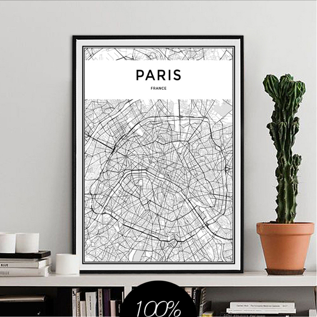 Minimalis paris city map canvas paintings black and white posters prints wall art pictures for living