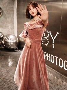 Image 4 - Weiyin 2020 新着セクシーなワンショルダーベルベットイブニングドレスショートフィットフォーマルパーティードレス夜会 WY1379