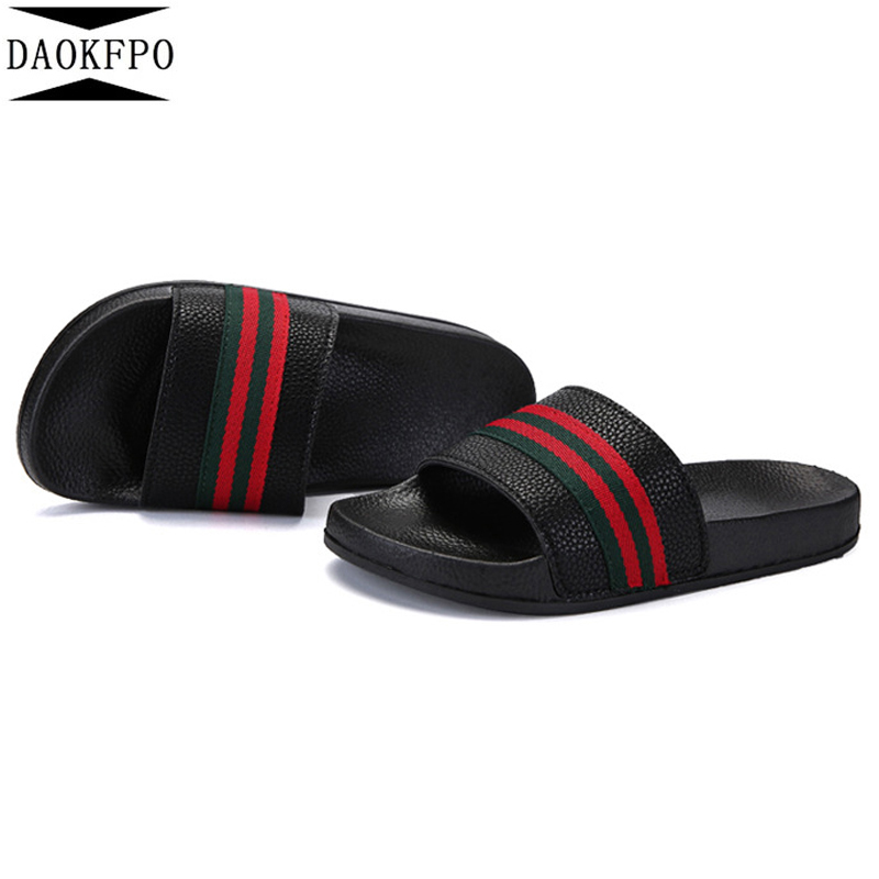 DAOKFPO 2019New Men 39 s shoes flat summer beach slippers ribbon home slippers fashion outdoor unisex slippers casual couple in Slippers from Shoes