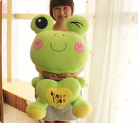 lovely green frog plush toy,hugged I love you heart pillow frog doll throw pillow birthday gift t0002