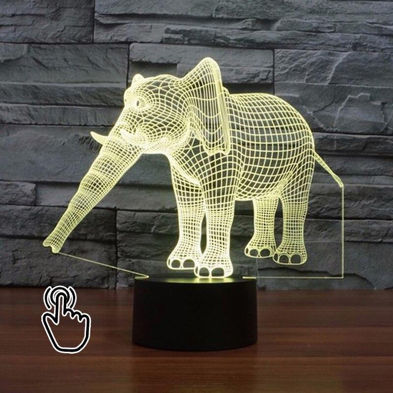 Led Light Night Hologram Illusion Elephant Colorful Led Night Animal Led Lamp 3d Kids Table Lamp