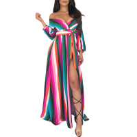 2018 Women Rainbow Color long Maxi Dress Long Sleeve deep V neck High Waist Boho Sundress With sashes Ladies Split Party Dress