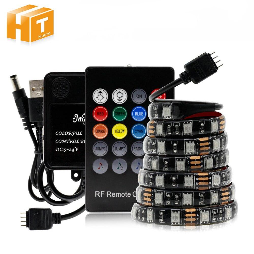 USB Tira CONDUZIDA com Controle Remoto RF Música controlador IP20 IP65 Flexível Luz de Tira 5050 RGB TV Fundo Lightgting