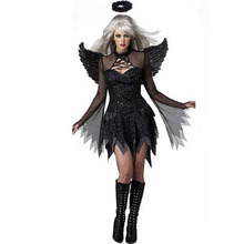 Halloween Black Devil Cosplay Costume ForWomen Vampire White Angel Dress With Wings Adult Sexy Party Witch Costumes Girl dark devil evil angel costume sexy dress halloween costumes for women fancy party dress fallen angel cosplay dresses girl