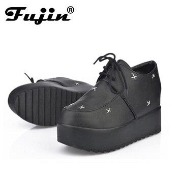ddabac1e7f4cd Fujin nueva moda Creepers Zapatos Mujer Zapatos señoras plataforma zapatos  2018 Plataforma de las mujeres atan para arriba los zapatos femeninos