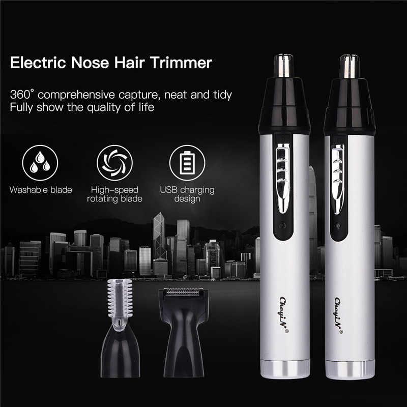 3in1 充電式メンズシェーバー耳トリマーほおひげ眉毛髭鼻男性のフェイスケアヘアカッターセット洗えるヘッド 50