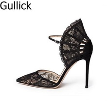Women Black Lace High Heel Pumps Fan-shaped Ankle Strap Wedding Dress Shoes Cut-out Pointed Toe Bride Heels Lady Shoes Free Ship white lace flower bride dress shoes pointed toe stiletto middle heel wedding party shoes with ankle strap bridesmaid pumps
