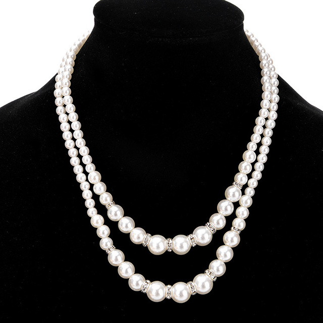 Black Bead and Diamantee Crystal Three Layer Faux Pearl Necklace Pendant Costume Fashion Jewellery