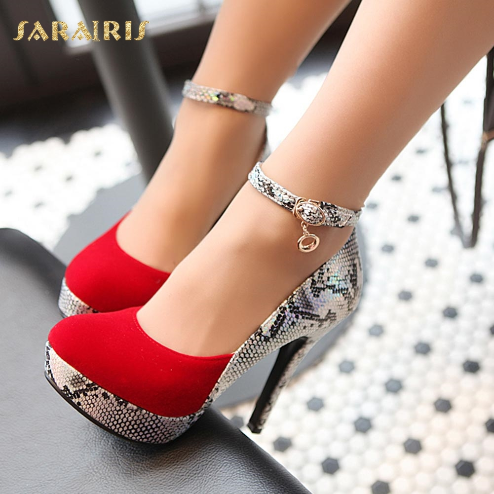 SaraIris Sexy Snake Skin Printed High Heel Ankle Strap Buckle Up Platform Party Wedding Shoes Woman Pumps Large Size 32-42