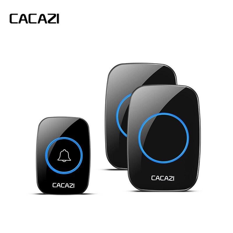 CACAZI nuevo timbre inalámbrico impermeable 300 m llamada remota EU/UK/US/AU Plug timbre de puerta inteligente timbre 220 V 1V2 botones 1V2 receptores