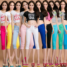 Whole cotton colour Elastic force Cropped Trousers Pencil pants high waist jeans woman skinny women jeans mujer jean plus size
