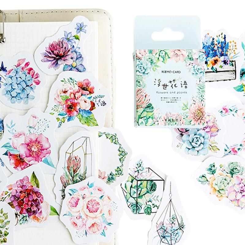 20 caixas lote nova linguagem da flor mini papel auto adesivo adesivos diy decoracao diario adesivos