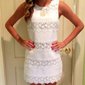 Vestidos Summer Dress 2017 Fashion Women Round Neck Sleeveless Elegant Lace Crochet Mini Dress Casual Sundress Femininas Dress