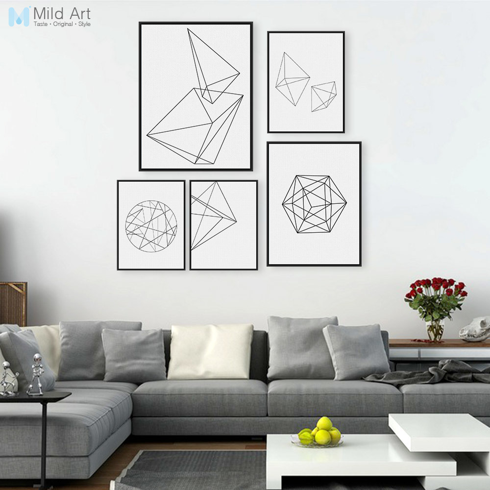 Modern Abstract Black White Geometric Shape A4 Large Poster Prints Minimalist Hipster Home Wall Art Decor Canvas Paintings Gifts