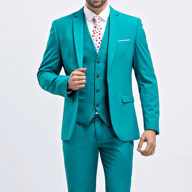 Custom made fashion mens suits wedding groom 9 colors solid wedding suits for men 3 peice (jacket+vest+pant) 7XL 8XL 9XL 10XL