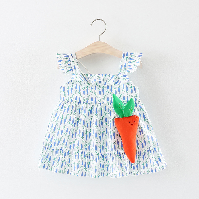 Summer Infant Dress Ruffles Sleeveless Baby Dress Carrot Print Toddler Dress Fashion Baby Girls Clothing