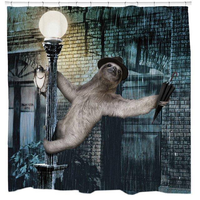 Sharp Shirter Slothin In The Rain Sloth Musical Shower Curtain 71 X 94 Extra Long