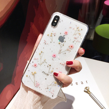 Qianliyao Transparent Glitter Dried Flower Phone Case For