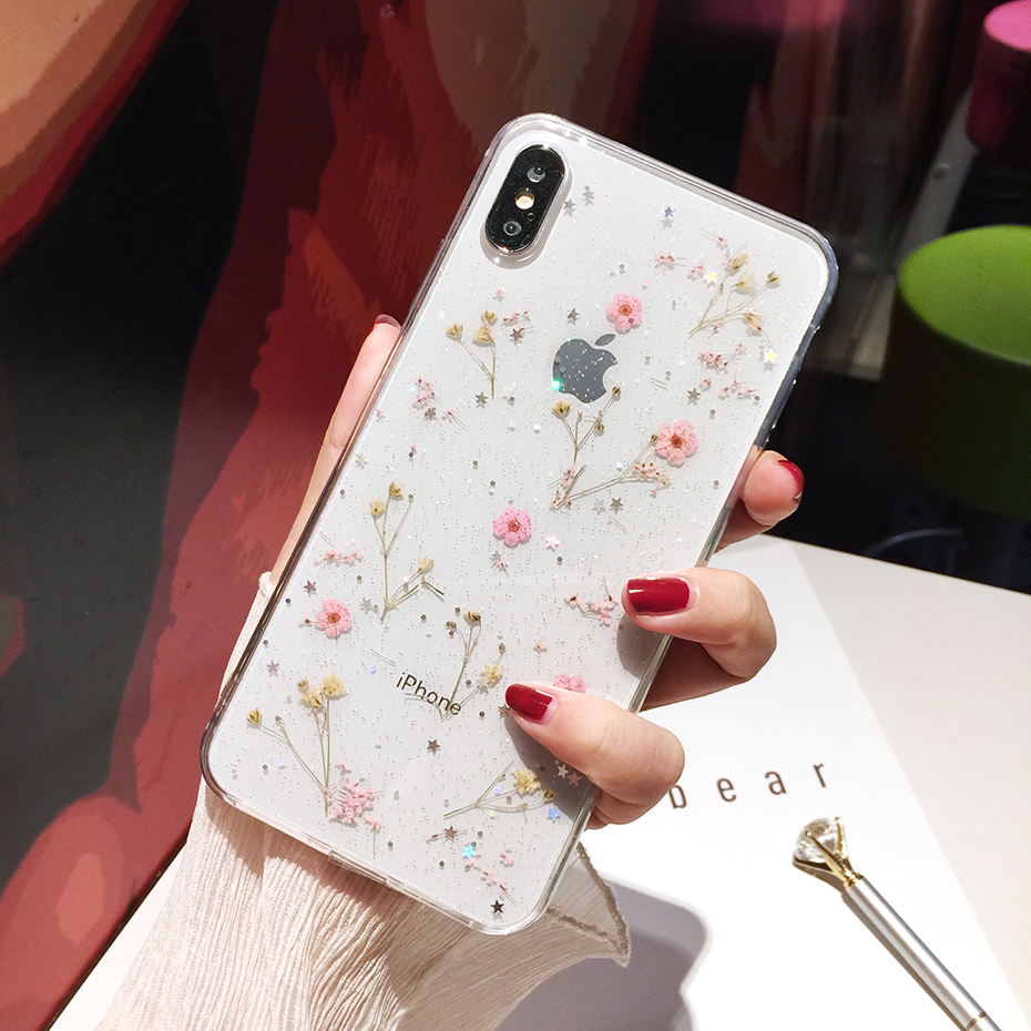 Qianliyao Transparent Glitter Getrocknete Blume Telefon Fall Für Samsung Galaxy S10 S9 S8 Plus Hinweis 10 Mode Echte Blumen Zurück abdeckung