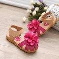 4 Colores de La Princesa Sandalias de Las Muchachas Zapatos de Los Niños 2017 Del Verano Muchachas de La Manera Grandes Flores Suaves Zapatos de Los Niños Zapatos Tamaño 21-30