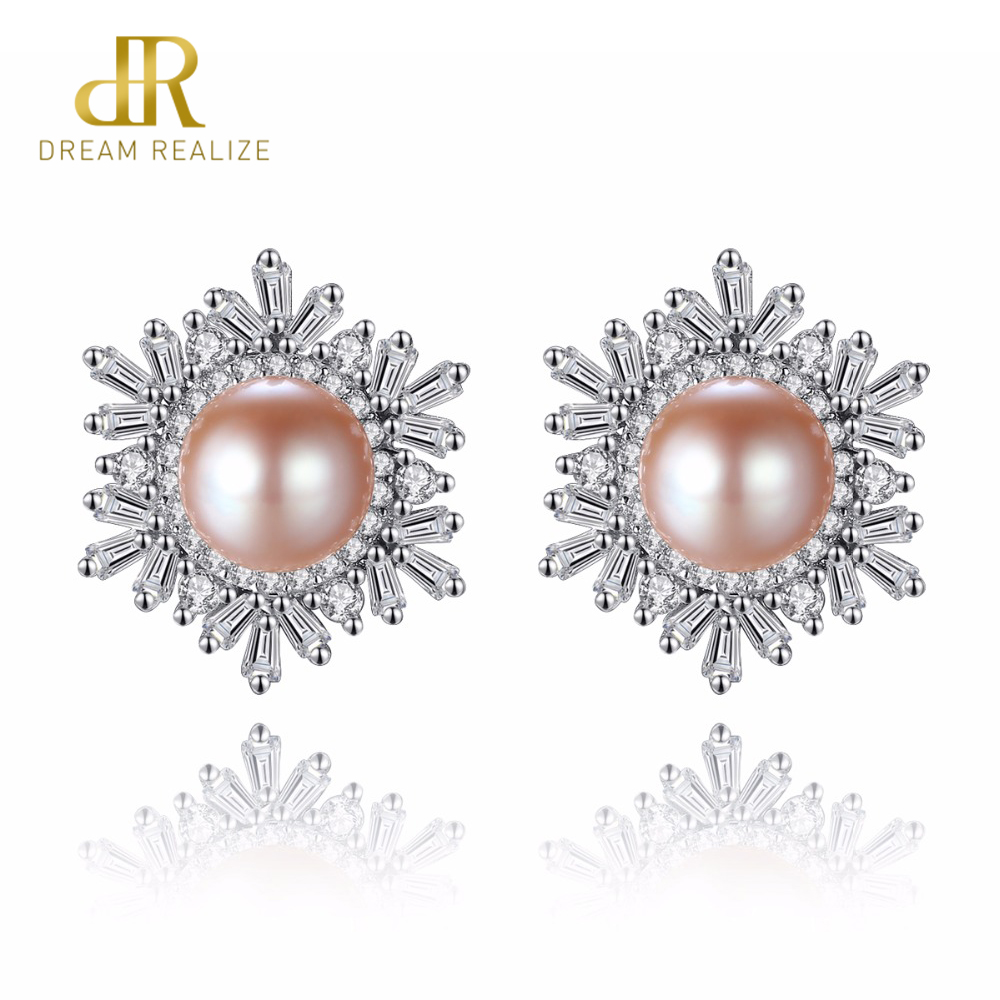 DR Female Snowflake Stud Earrings Real 925 Sterling Silver Jewelry High Quality Natural Pearl For Women Christmas Gifts